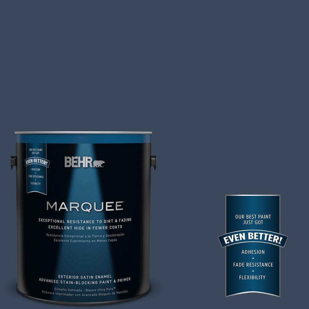 BEHR MARQUEE 1-gal. #M500-7 Very Navy Satin Enamel Exterior Paint