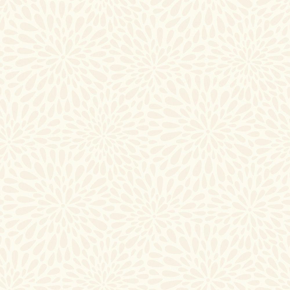 Calendula Beige Modern Floral Wallpaper Sample