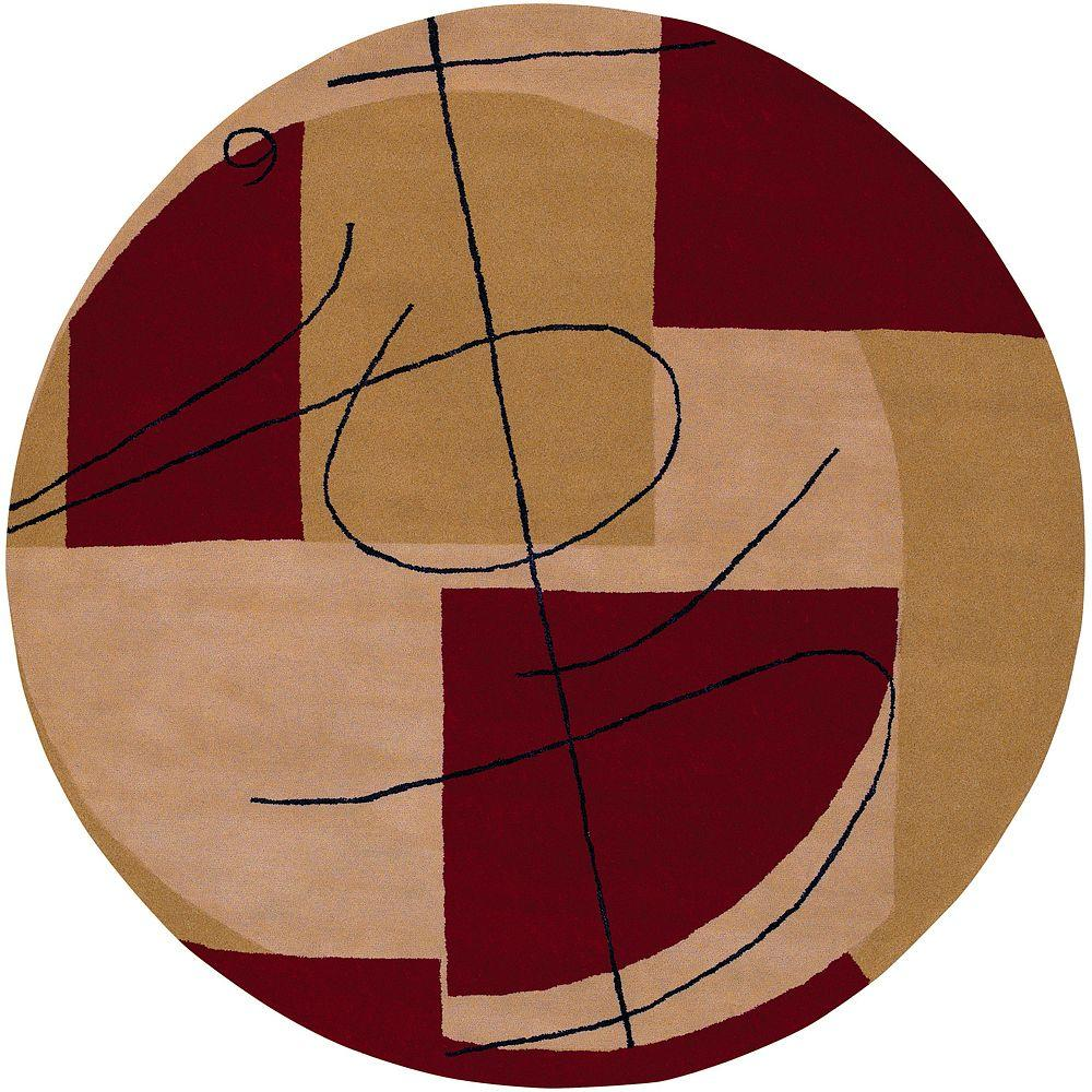 Artistic Weavers Waterloo Burgundy 5 ft. 9 in. x 5 ft. 9 in. Round Area Rug