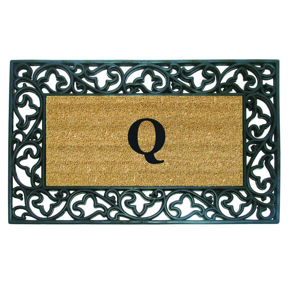 Nedia Home Acanthus Border 22 in. x 36 in. Rubber Coir Monogrammed Q Door Mat