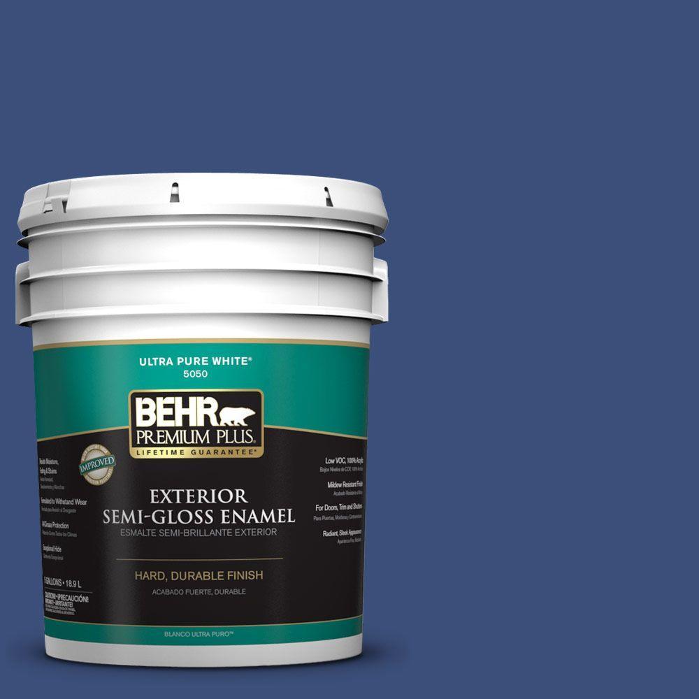 BEHR Premium Plus 5-gal. #S-H-600 Sailor Semi-Gloss Enamel Exterior Paint