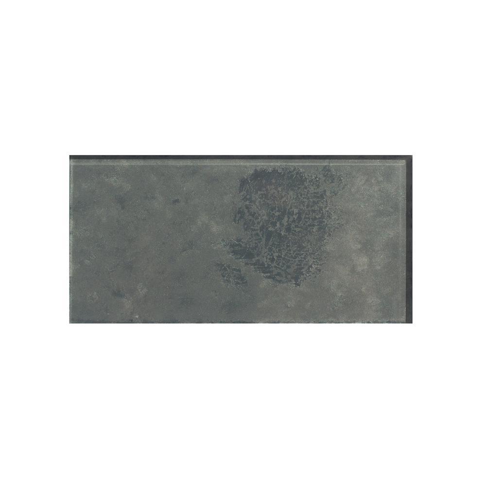 "Gray Handmade Metallic Subway 3"" x 6"" Glossy Straight Glass Decorative Bathroom Wall Backsplash Tile (0.125 Sq. ft./Pc)"