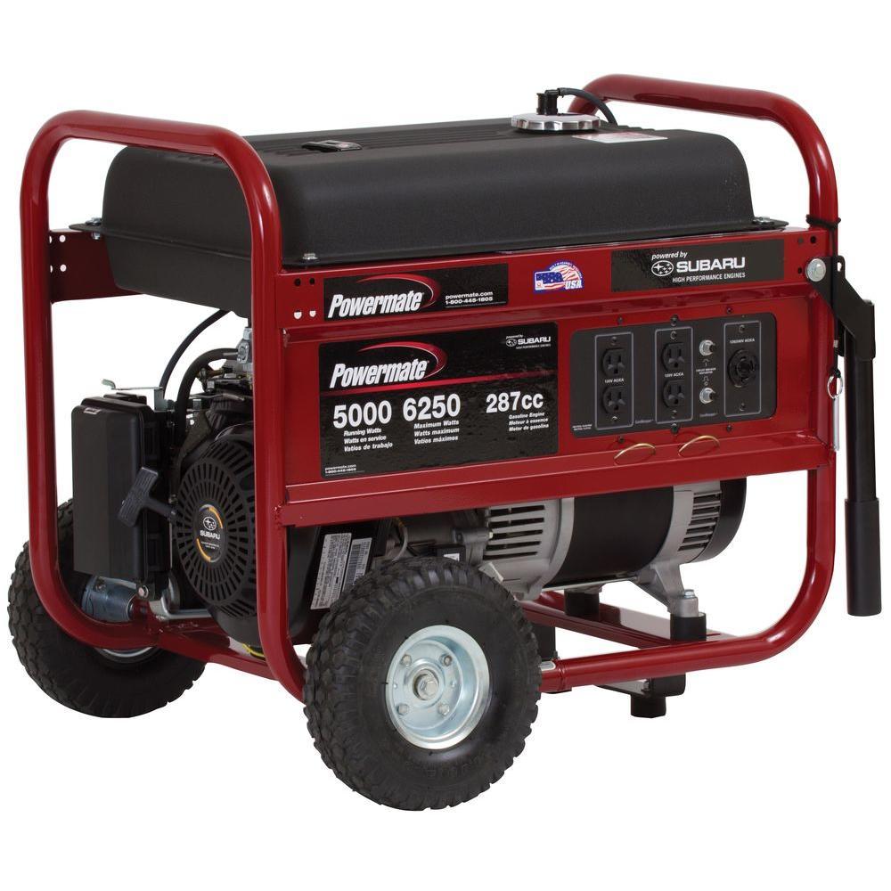 Powermate 5,000-Watt Gasoline Powered Manual Start Portable Generator with Subaru Engine