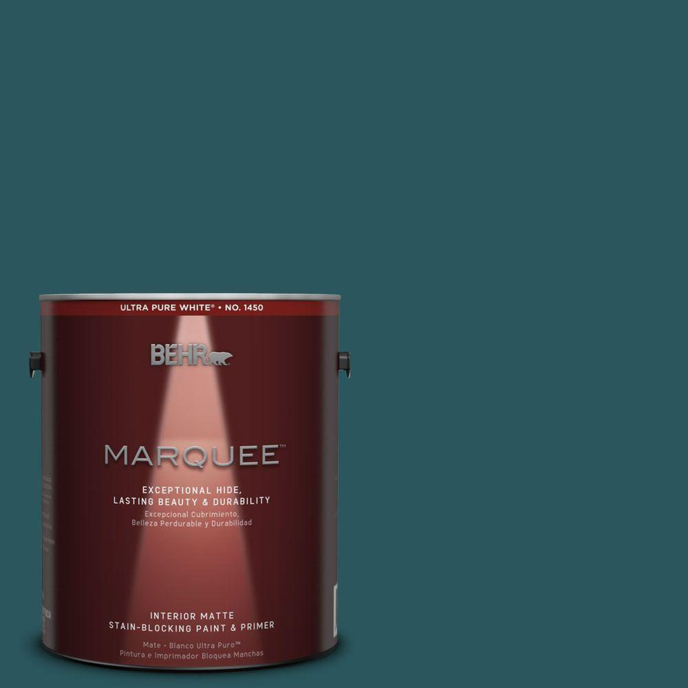 BEHR MARQUEE 1 gal. #MQ6-01 Ocean Abyss One-Coat Hide Matte Interior Paint and Primer in One