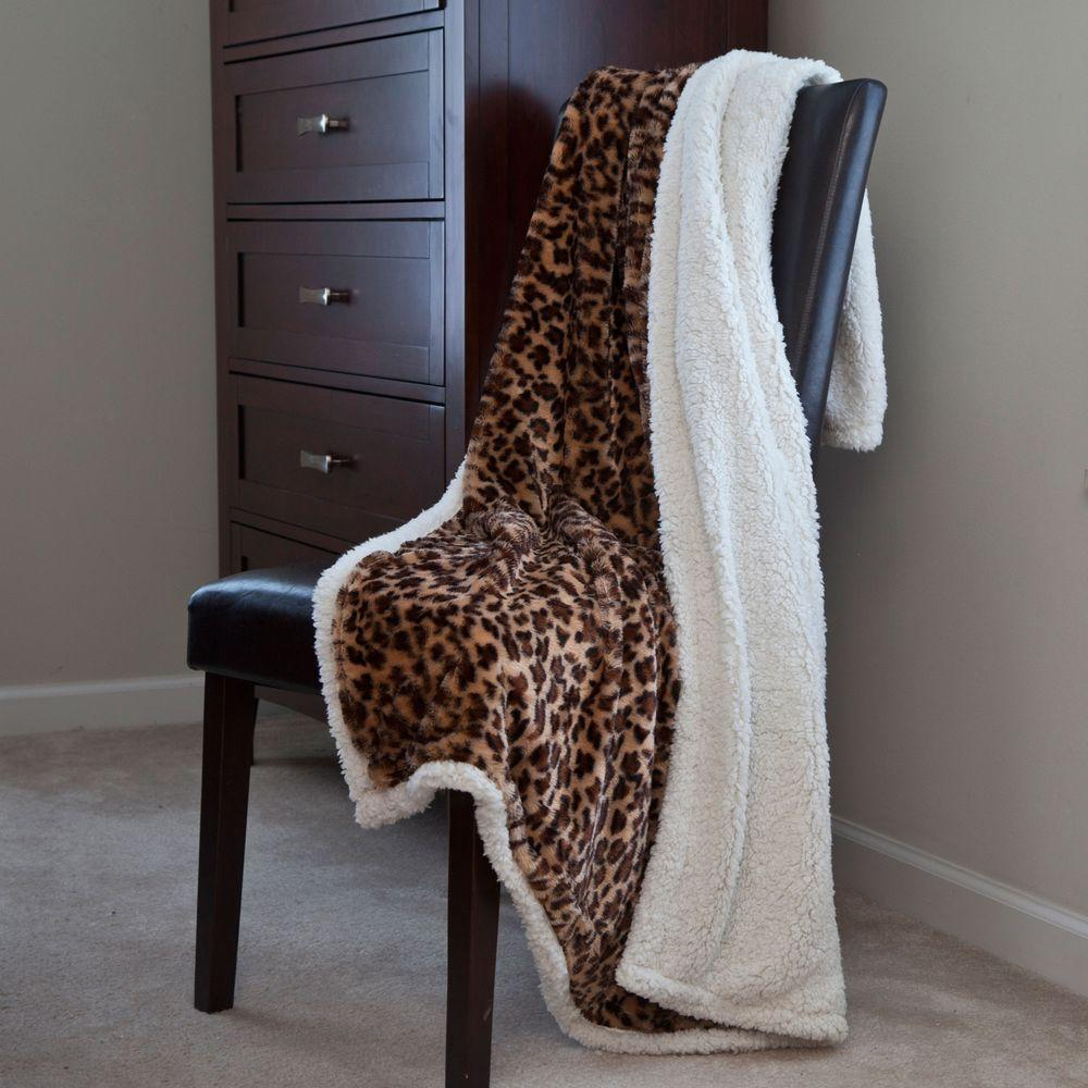 Lavish Home Leopard Fleece Sherpa Polyester Throw Blanket