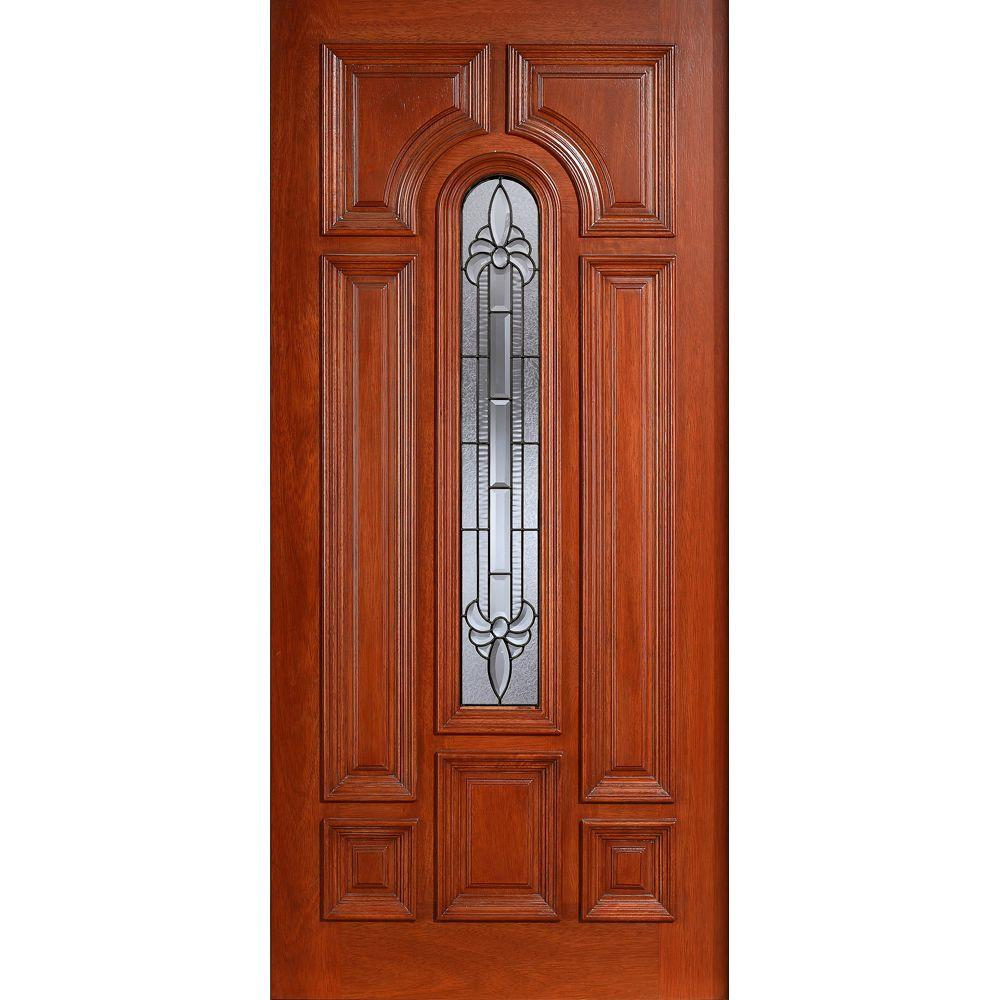 Main Door 36 in. x 80 in. Mahogany Type Prefinished Cherry Beveled Patina Arch Glass Solid Stained Wood Front Door Slab