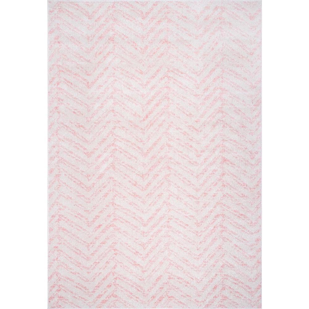 Rosanne Geometric Herringbone Pink 5 ft. x 7 ft. Area Rug