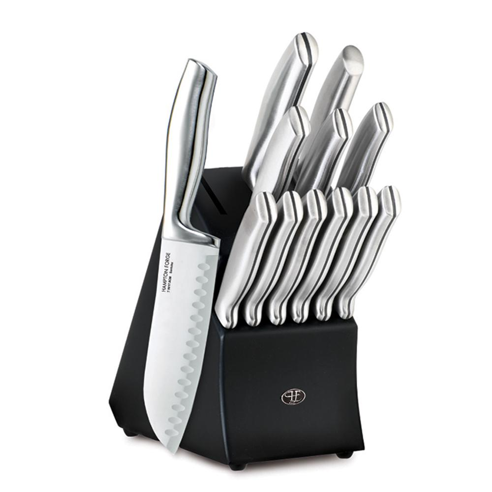 HamptonForge Hampton Forge Kobe 13-Piece Stainless Steel Knife Set with Black Block