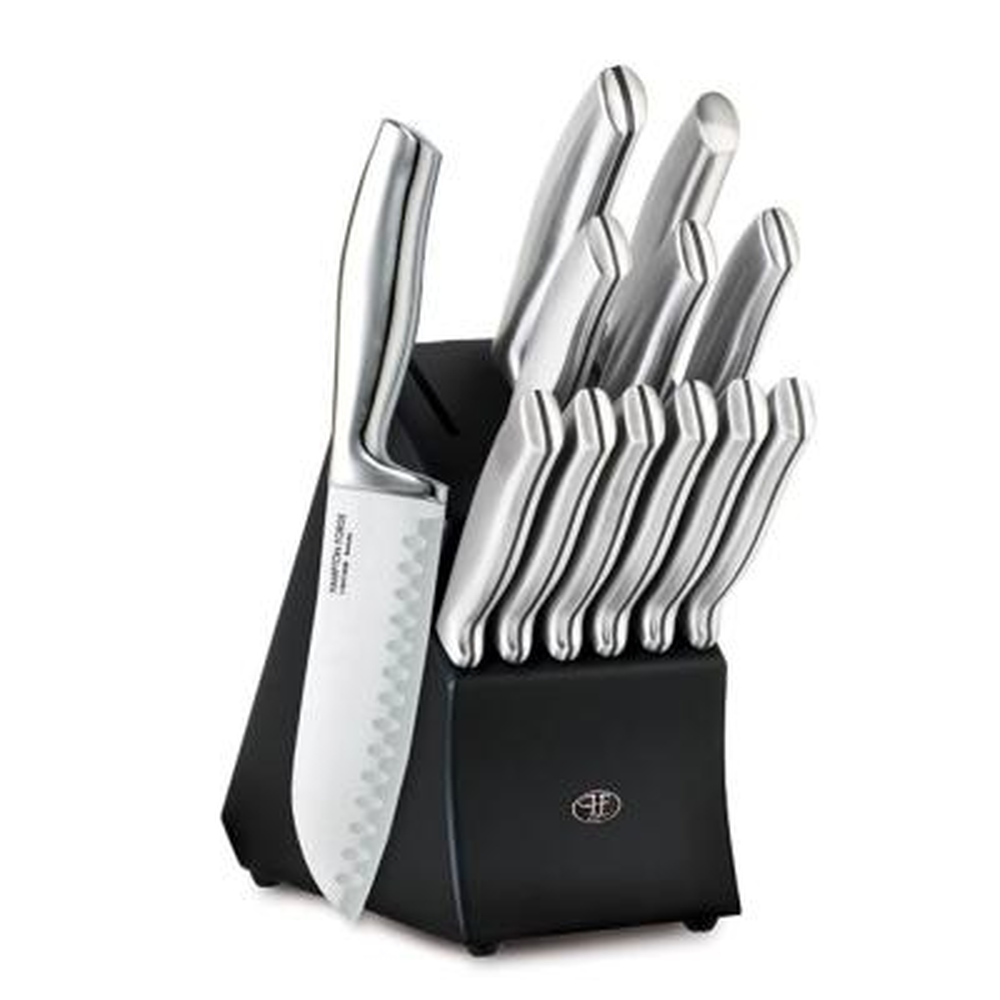 Kobe 13-Piece Stainless Steel Knife Set with Black Block