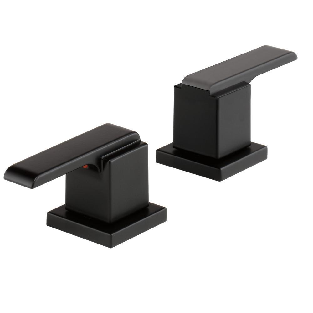 Delta Ara Bathroom Lever Handles in Matte Black (2-Pack) from Faucet Handles