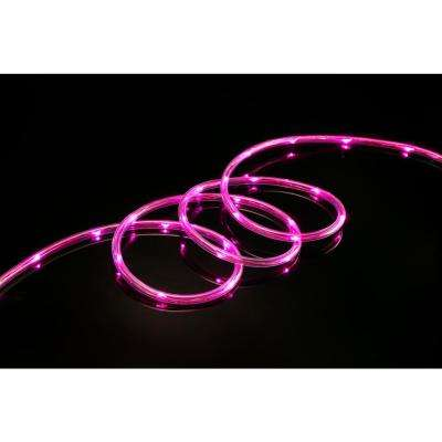 16 ft. Pink All Occasion Indoor Outdoor LED 1/4 in. Mini Rope Light 360° Directional Shine Decoration