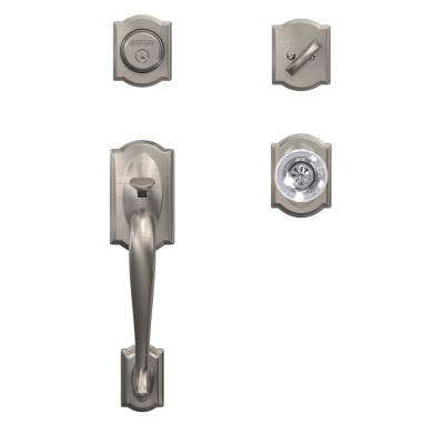 Camelot Satin Nickel Dummy Handleset with Hobson Glass Door Knob and Camelot Trim