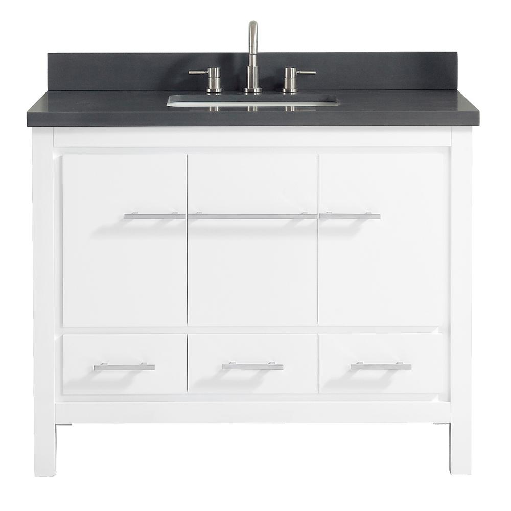 Azzuri Riley 43 In W X 22 In D X 34 8 In H Bath Vanity In White With Quartz Vanity Top In Gray With Basin Riley Vs43 Wt The Home Depot