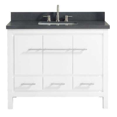 Riley 43 in. W x 22 in. D x 34.8 in. H Bath Vanity in White with Quartz Vanity Top in Gray with Basin