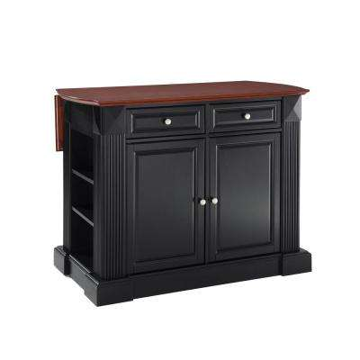 Coventry Black Kitchen Island with Drop Leaf Top