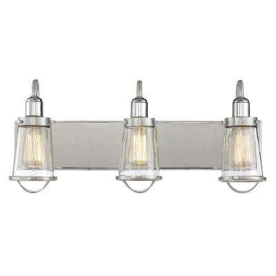 3-Light Satin Nickel with Polished Nickel Accents Bath Light with Clear Glass