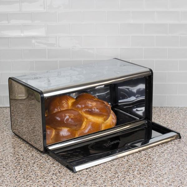 Drop Front Lid Mirror Stainless Steel Bread Box HDC50598