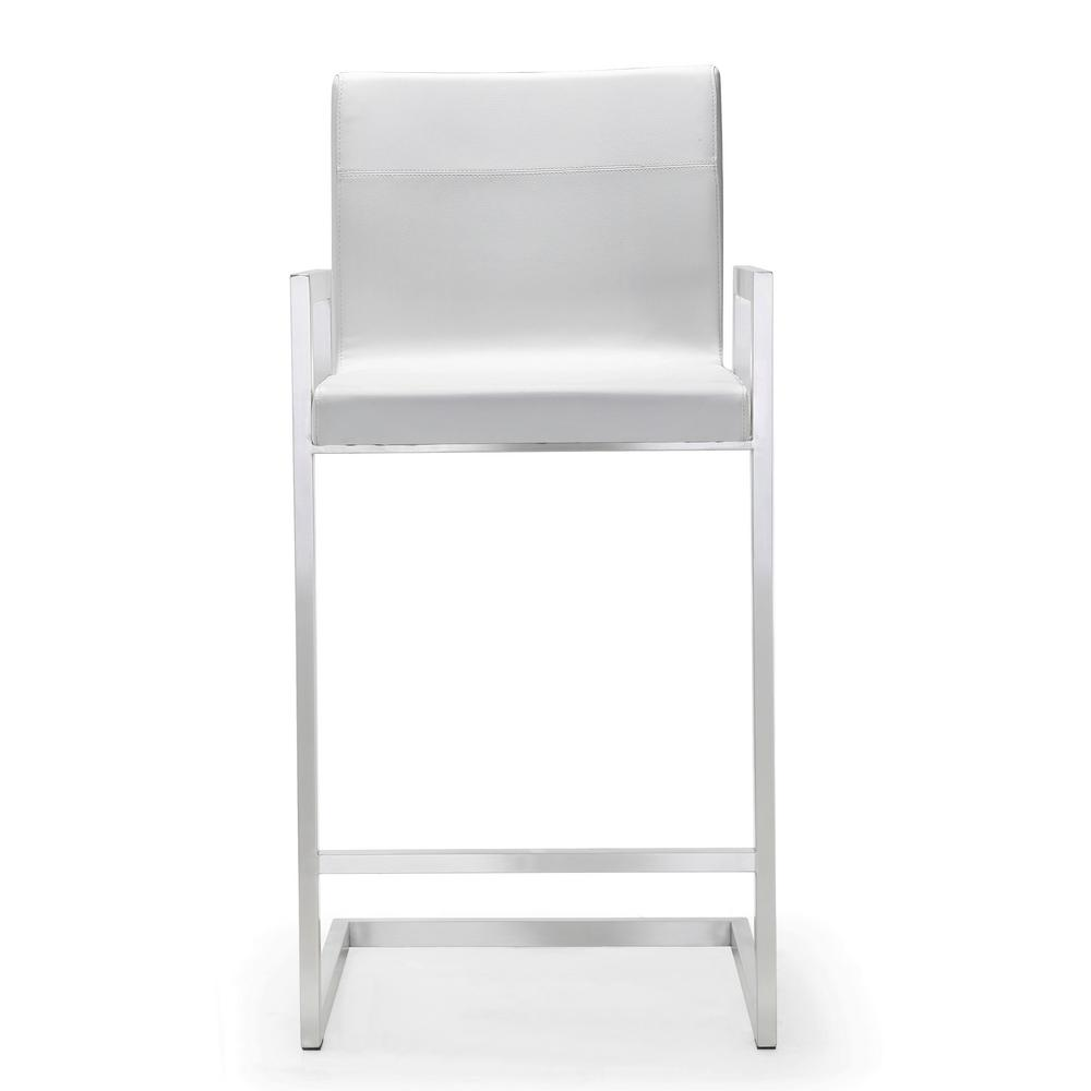 Tov Furniture 38 2 In H Milano White Steel Counter Stool