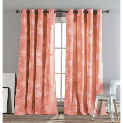 Aster 84 in. L Polycotton Grommet Panel in Bright Coral (2-Pack)