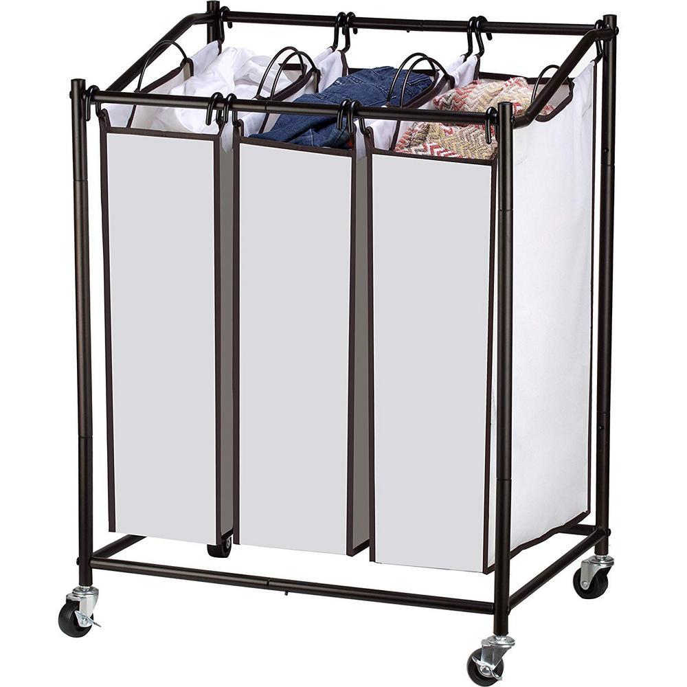 3 Section Laundry Sorter Hamper on Wheels, Rolling Cart, Heavy Duty