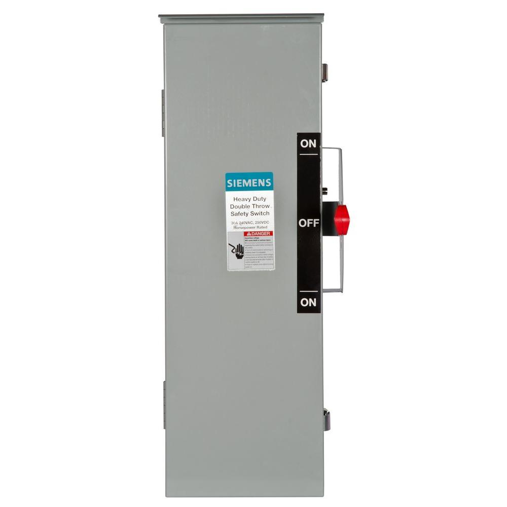Double Throw 30 Amp 240-Volt 3-Pole Outdoor Fusible Safety Switch