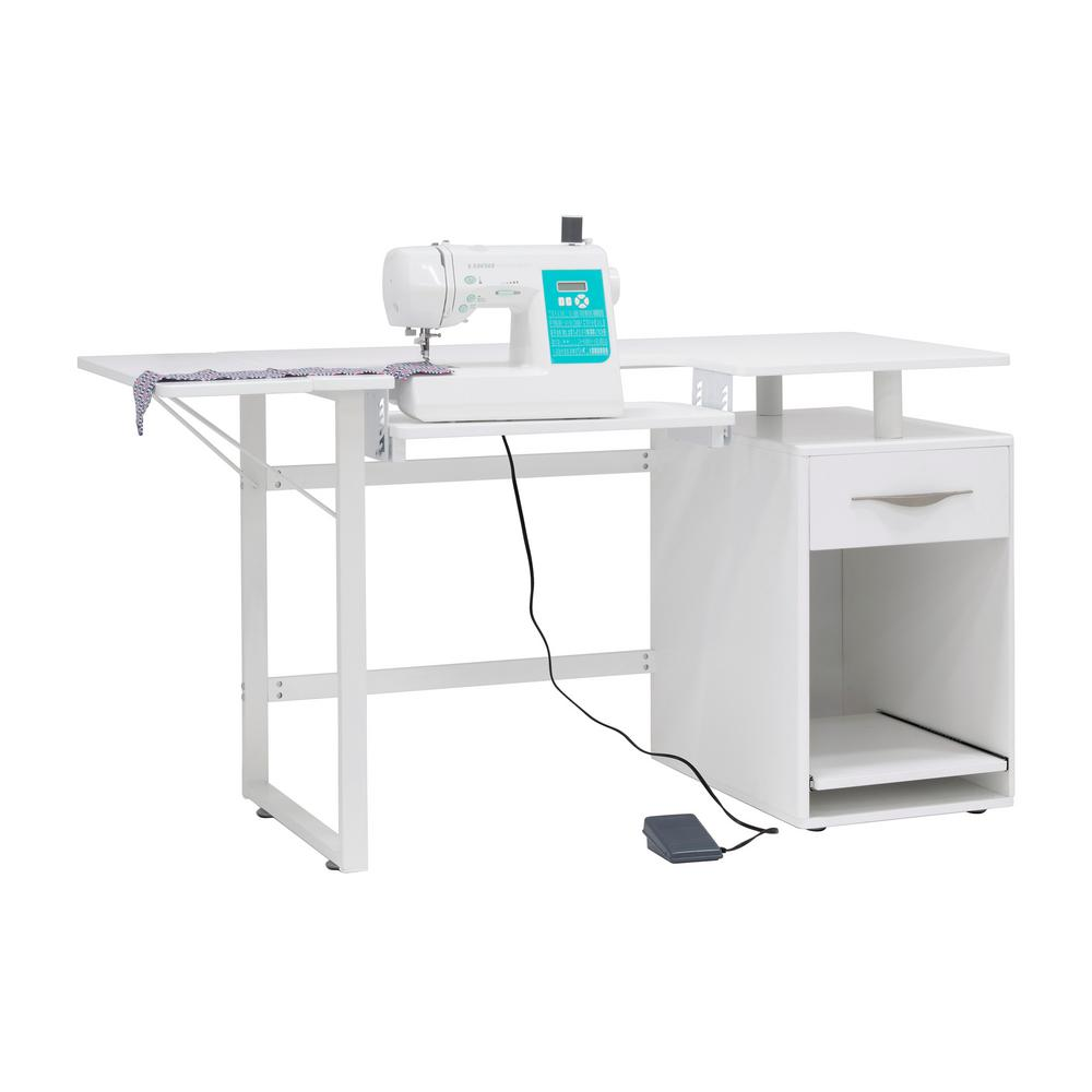 Sew Ready 56.75 in. W Pro Line Sewing Table, Craft, Office Desk with Drawer  and Pull-Out Shelf in Storage Cabinet, White