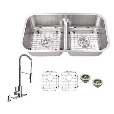 All-in-One Undermount Stainless Steel 33 in. Double Bowl Kitchen Sink with Faucet