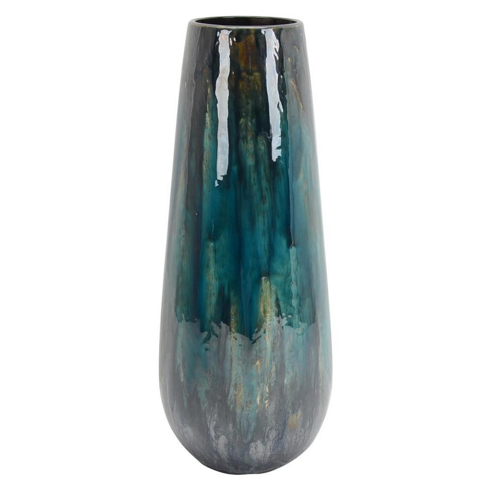 18 in. Blue Ceramic Vase