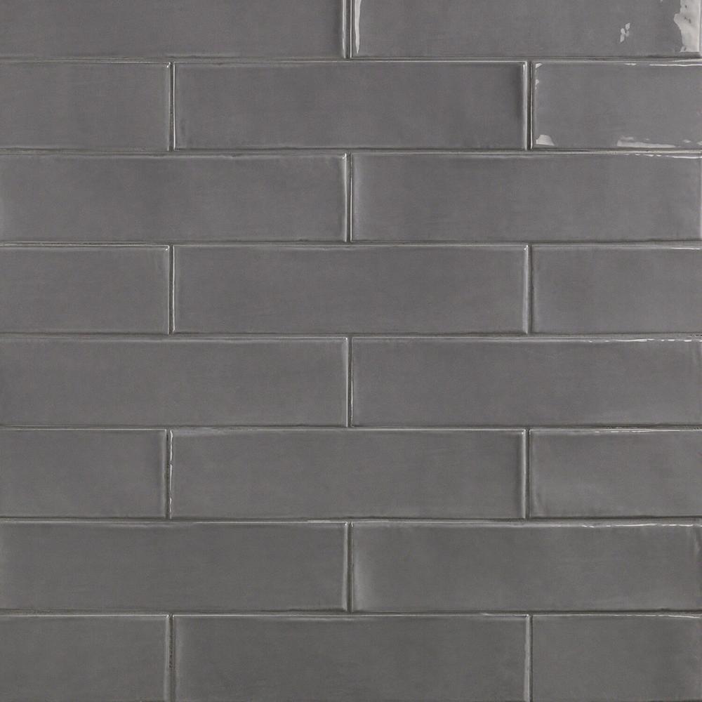 Splashback Tile Birmingham Charcoal 3 In X 12 8mm Polished Ceramic Subway