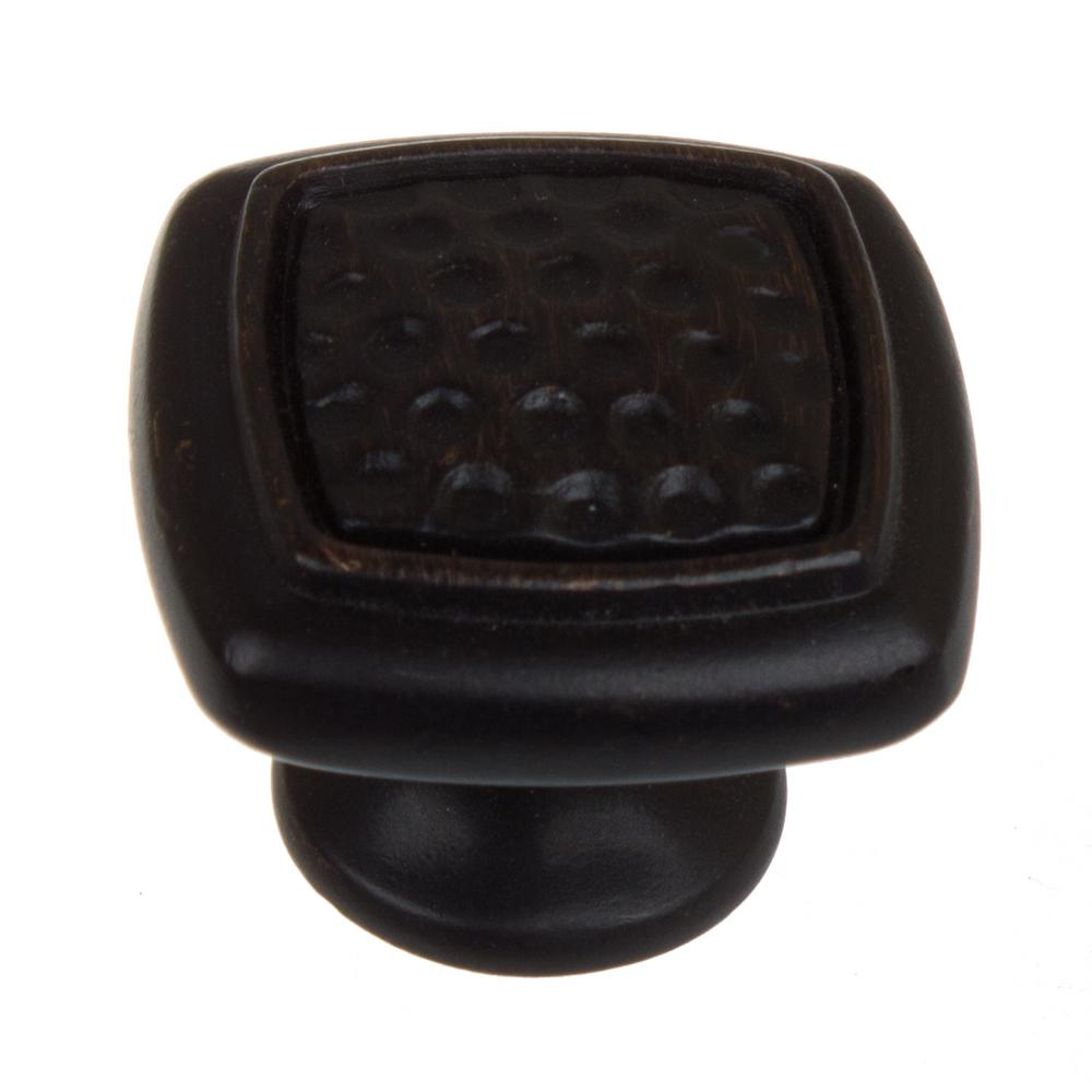 1-1/4 in. Dia Oil Rubbed Bronze Square Dimpled Cabinet Knob (10-Pack)