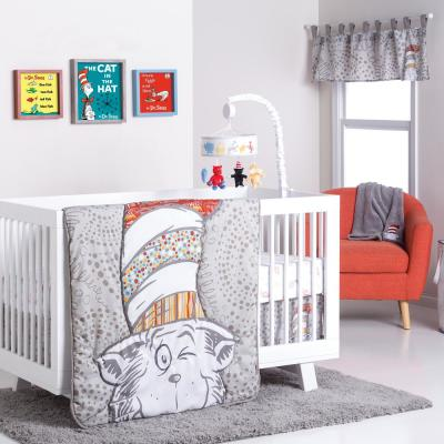 Dr. Seuss Peek-A-Boo Cat in The Hat 4-Piece Multicolored Geometric Polyester Crib Bedding Set