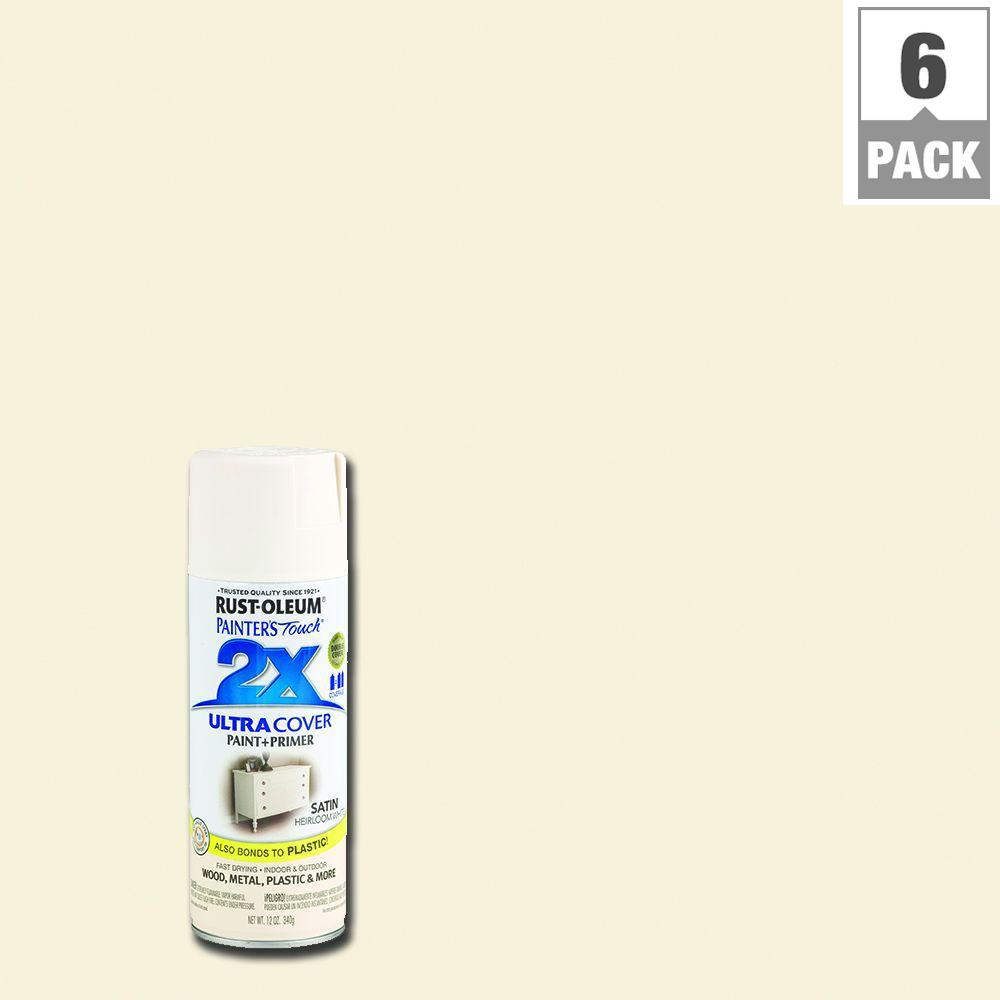 Rust-Oleum Painter's Touch 2X 12 oz. Satin Heirloom White General Purpose Spray Paint (6-Pack)