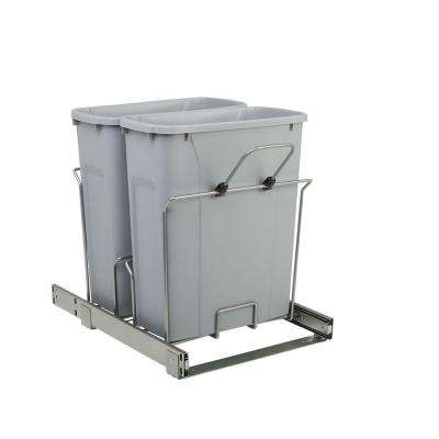 14.375 in. x 20.125 in. x 17.313 in. 20 Qt. In-Cabinet Double Soft-Close Bottom-Mount Pull-Out Trash Can