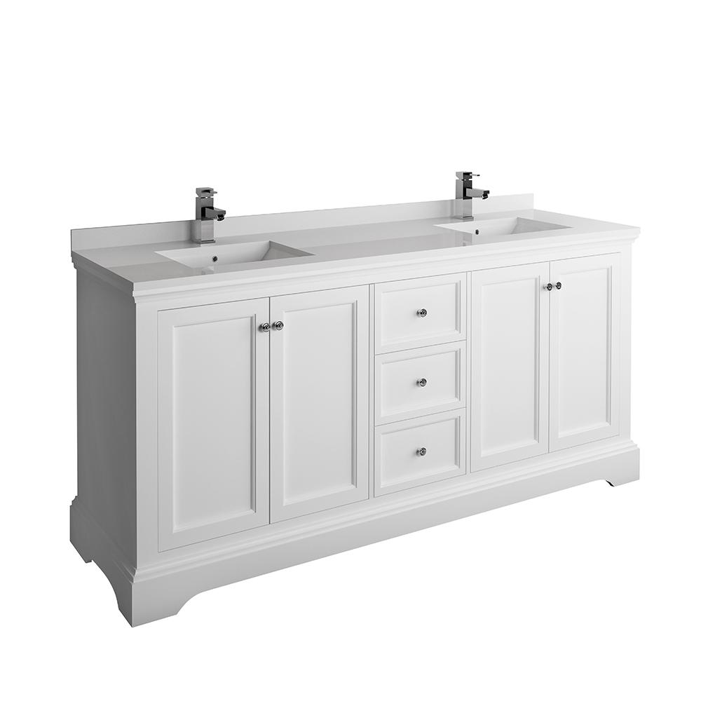Fresca Windsor 72 in. W Traditional Double Bath Vanity in Matte White with Quartz Stone Vanity Top in White with White Basins