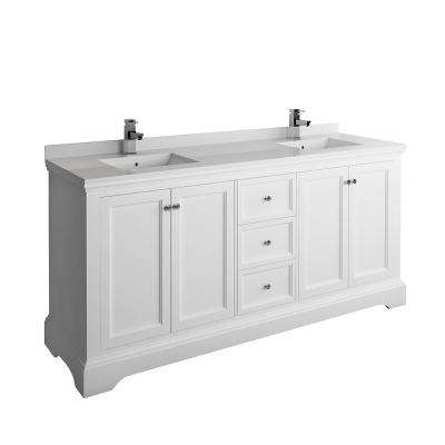 Windsor 72 in. W Traditional Double Bath Vanity in Matte White with Quartz Stone Vanity Top in White with White Basins