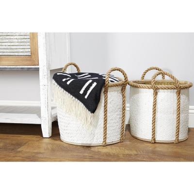 Round Palm Leaf and Rope Storage Wicker Baskets with Handles (Set of 3)