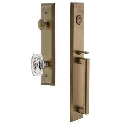 Fifth Avenue Vintage Brass 1-Piece Door Handleset with D-Grip and Baguette Clear Crystal Knob