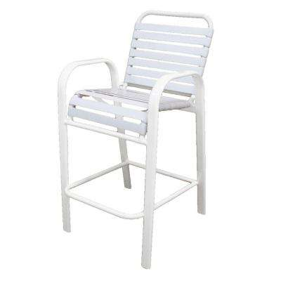 Marco Island White Commercial Grade Aluminum Bar Height Patio Dining Chair with White Vinyl Straps