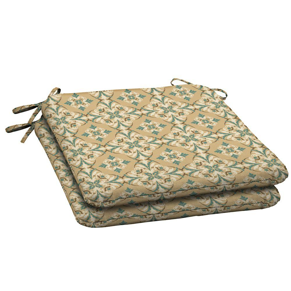 Hampton Bay Roux And Turquoise Medallion Outdoor Seat Pad (2-Pack)-DISCONTINUED