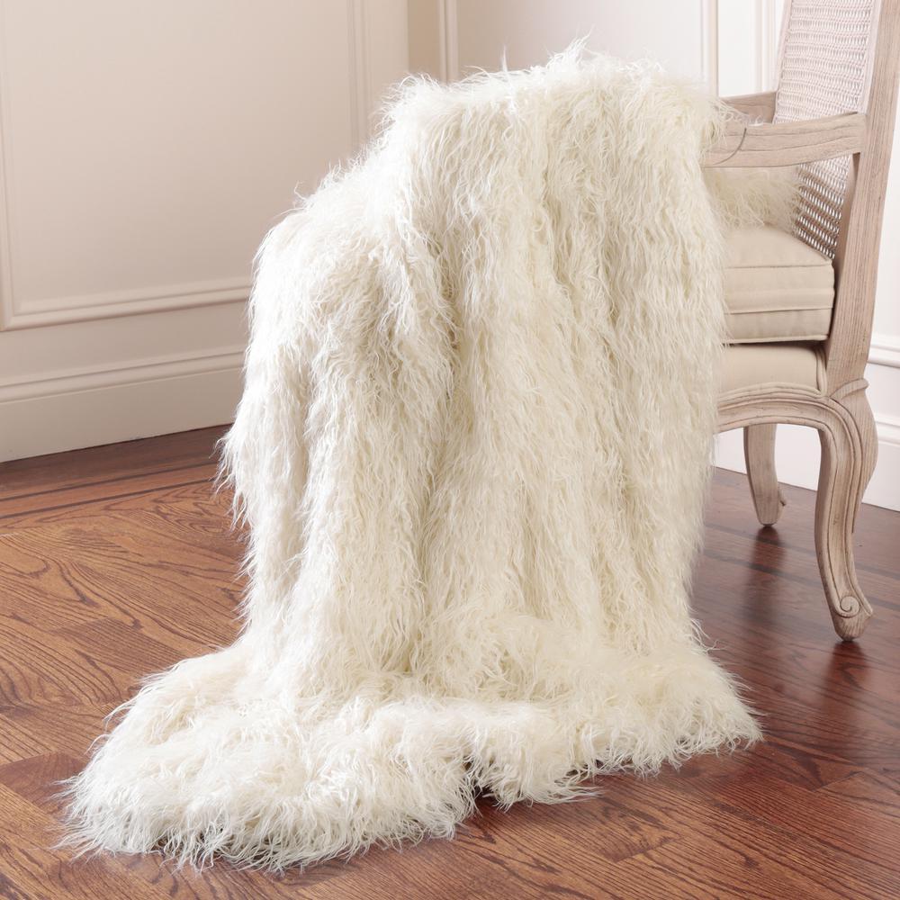 Faux Mongolian Lamb Fur 84 in. L Ivory Throw