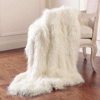 Faux Mongolian Lamb Fur 84 in. L Ivory Throw