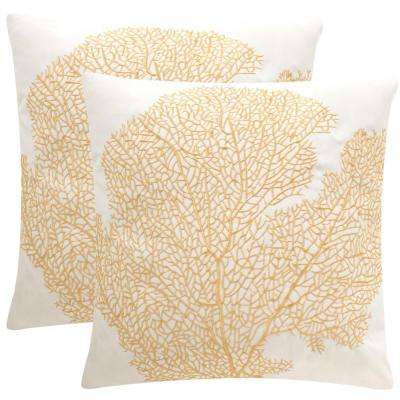 Spice Fan Coral Soleil Square Outdoor Throw Pillow (Pack of 2)