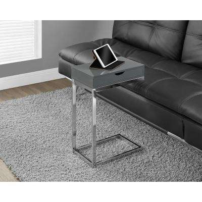 Glossy Grey Storage End Table