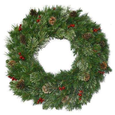 30 in. Unlit Cashmere Cone and Berry Decorated Artificial Wreath with Red Berries and Pinecones