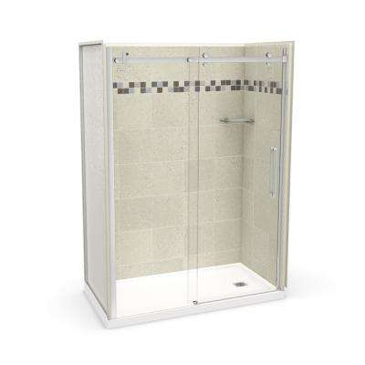 Utile Stone 30 in. x 60 in. x 83.5 in. Right Drain Alcove Shower Kit in Sahara with Chrome Shower Door