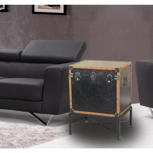 Vintiquewise Brown Faux Leather Trimmed Square Storage Trunk End Table on Metal Stand