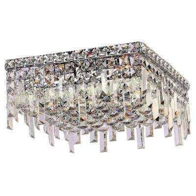 Cascade Collection 5-Light Chrome Crystal Flush Mount