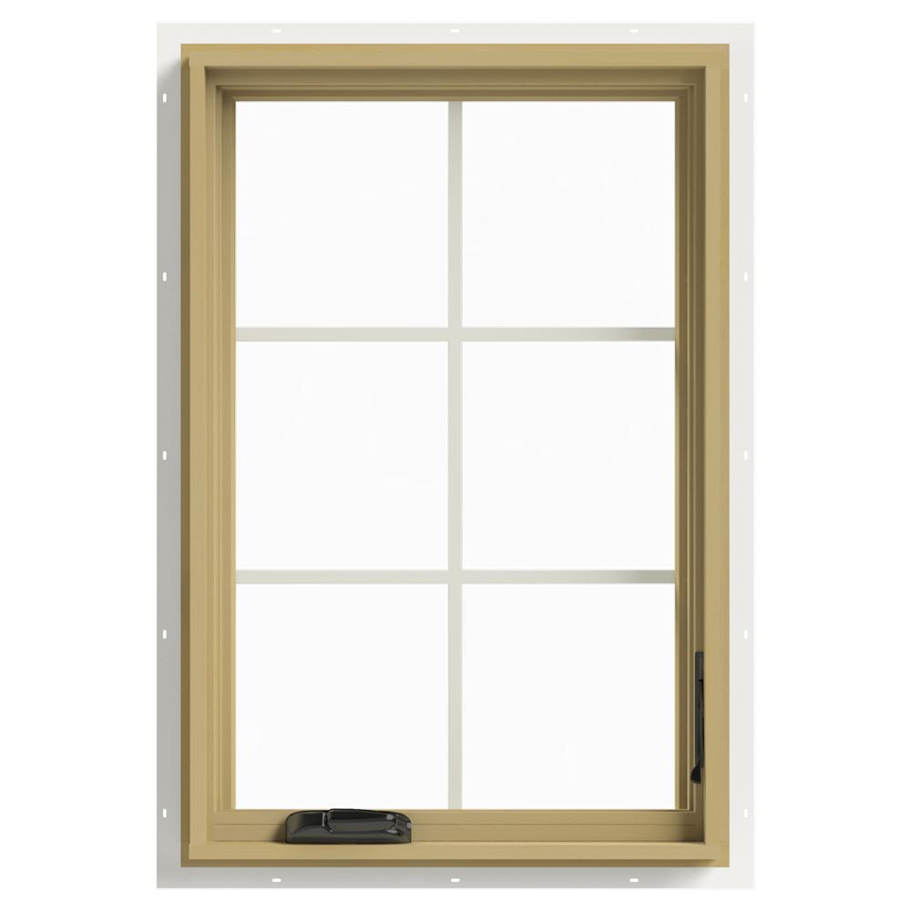 JELD-WEN 24 in. x 36 in. W-2500 Series White Painted Clad Wood Right ...