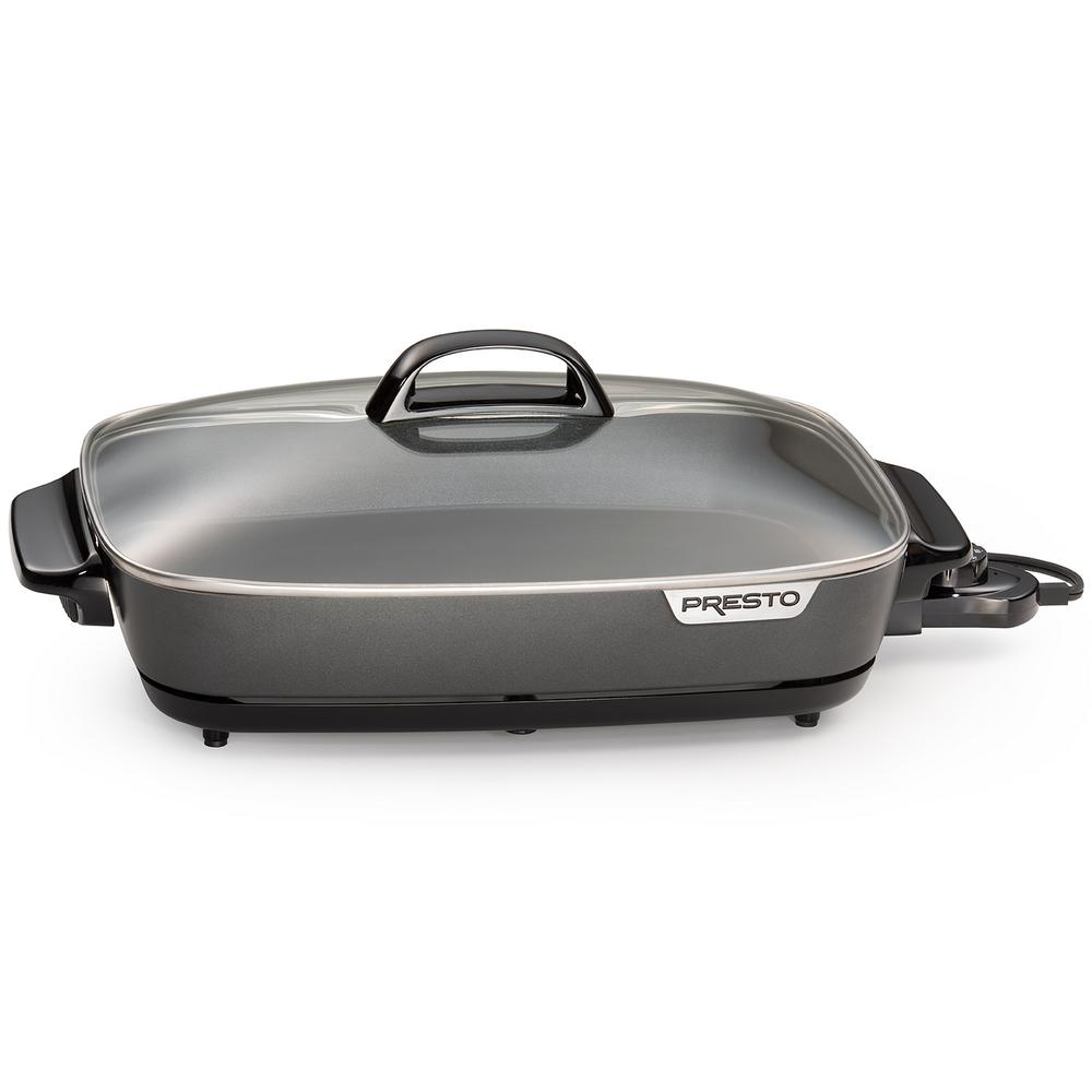Presto SlimLine Electric Skillet, Black Roast, fry, grill, stew, bake, and make one-dish meals in this Slimline electric skillet. It features high sidewalls for extra cooking and serving capacity with a low-profile Slimline design ideal for buffet-style serving, as well as saving on storage space. The deluxe nonstick surface, inside and out, makes it great for breakfast, lunch, dinner, and entertaining. The tempered glass cover and stay-cool handle provide easy access and visibility. Plus, it's more efficient to use than a range burner or oven. The big 16 in. heavy cast aluminum pan is virtually warp-proof. The Control Master heat control maintains the desired cooking temperature automatically. Skillet is fully immersible with the heat control removed. Color: Black.