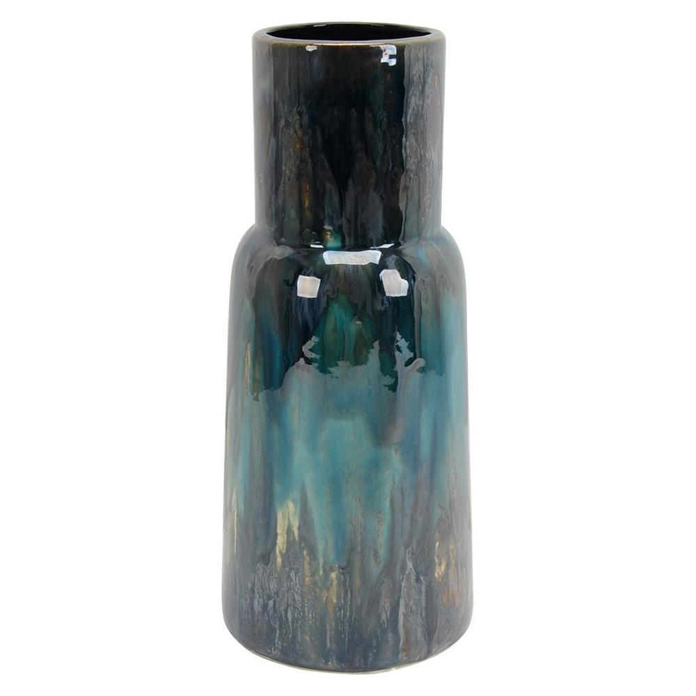 13.5 in. Blue Ceramic Vase